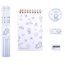 得力 deli 8件组合套装(含橡皮1块+胶带1卷+卷笔刀1个+线圈本1本+铅笔4只) 莹贝白 68884A 8件 (莹贝白)