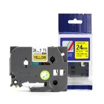 天色 标签机色带 TZ-651 24mm黄底黑字 适用于兄弟标签机
