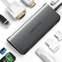 绿联 UGREEN Type-C转HDMI/VGA转换器 40873  USB-C扩展PD充电转接头数据线 USB3.0