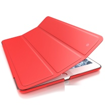 毕亚兹 平板电脑配件 苹果2018/2017新 9.7英寸皮套平板电脑保护后外壳 智能休眠 轻薄防摔支架皮套 PB13-红色