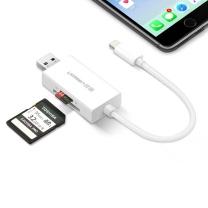 绿联 UGREEN 读卡器 30612 苹果二合一读卡器 MFi认证适用iPhone/iPad/iPod插卡式U盘 手机电脑两用TF/SD卡扩展数据线USB供电