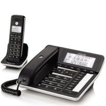 摩托罗拉 MOTOROLA 数字无绳电话机 C7001C 子母机 通话录音 中文显示 免提 家用办公一拖一固定座机 (黑)