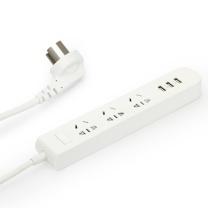 品胜 PISEN 智能USB排插宽座 3位5孔3位USB口智能插座 安全保护门 多功能排插/插线板 1.8米新国标 303 (白)