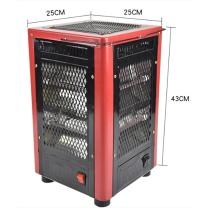 如意明珠 大五面白管散片热取暖器 家用电热烘烤器具 27*27*42cm (黑红)