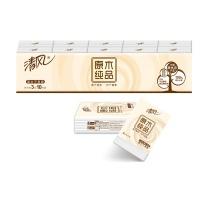 清风 Breeze 原木纯品标准包手帕纸 B66AC1M1 三层 10张/包  10包/条 48条/箱 (无香迷你型)