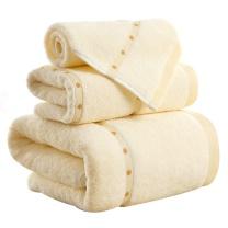 金号 KINGSHORE 毛巾方巾浴巾三件套礼盒装 4120 34*80/60*120/34*35cm 103g/320g/46g (米色/粽色)