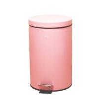 宜洁 脚踏式不锈钢垃圾桶圆筒形 Y-9472 12L (蜜桃粉)