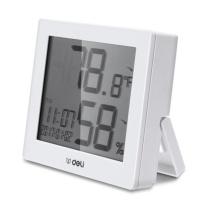 得力 deli 多功能电子款家用室内外温湿度计 8813 (白色)