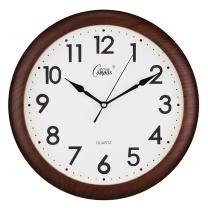 康巴丝 COMPAS 挂钟创意静音钟表客厅经典简约挂表居家办公田园时钟电子石英钟 C8001 (仿木)