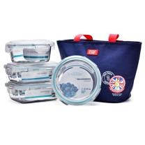 比得兔 Peter Rabbit 无铅玻璃保鲜盒 PR-T554 (蓝色) 四件套 赠包 (640ML*2+620ML*2)