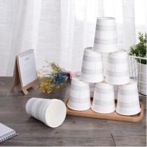 得力 deli 加厚一次性纸杯 250ml 原纸制作 50个装 19200 53*76*91mm (白色)