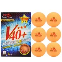 双鱼 展翅三星乒乓球 ABS V40+ 6个装 (黄色)