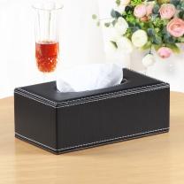 雅皮仕 简约皮质纸巾盒 大号 (黑色)