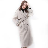 雅鹿 韩版毛呢大衣女中长款腰带双面羊绒大衣潮