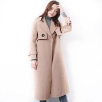 雅鹿 韩版毛呢大衣女中长款双面羊绒大衣潮