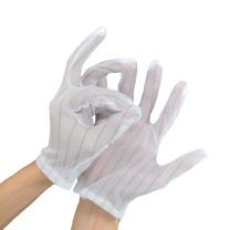 朗固 防静电电条纹手套 C10500001 (白) 点条纹款