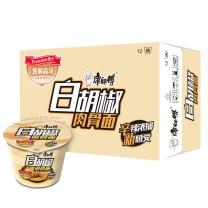 康师傅 Master Kong 熬制高汤 肉骨桶方便面  12桶/箱 白胡椒味