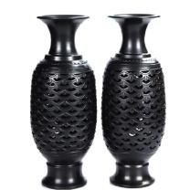 德州梁子黑陶 鱼鳞锁对瓶手工陶瓷饰品工艺品