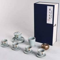 知者觉器 12件套汝窑茶具套装 12件 青瓷色