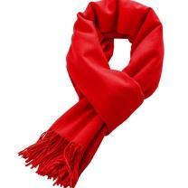 美丽义饰 冬款仿羊绒围巾女 100g (红色)