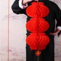 壹圈圈 小蜂窝红灯笼 3连串 (红)