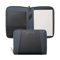 雨果博斯 HUGO BOSS Keystone A5 拼色商务经理夹 HTM602H (黑色+蓝色)