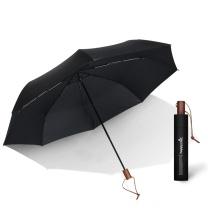 happyrain 雨伞 男士超大双人手开伞经典木柄伞 (黑色) 独立包装