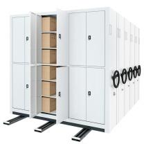 臻远 密集架手摇式移动档案柜文件资料架钢制轨道密集架一列5组 MJJS-5 H2360*W5400*D560 (白色)