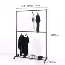 国产 双层衣架黑色服装店展示架落地组合铁艺简约现代挂衣服的货架轮子