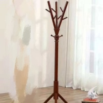 吉展 衣帽架 40*178cm (深胡桃) 实木挂衣架落地加粗衣架卧室置衣架简约立式挂包架衣服架 主杆