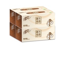 清风 Breeze 原木纯品盒装面巾纸 B339A18 双层 180抽/盒  3盒/提 12提/箱
