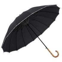 美度 日式素色弯钩长柄晴雨伞 M1121 16骨 (黑色)
