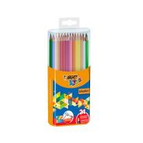 比克 BiC BIC比克Kids儿童Evolution环保无木彩色铅笔(24色)文具 儿童学生绘画彩铅涂色顺滑 24色