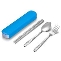 阳光飞歌 阳光飞歌 旅行便携筷勺叉餐具套装 不锈钢勺子筷子叉子三件套装便携盒 蓝色PP盒