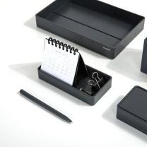 纽赛 NUSIGN 纽赛(NUSIGN)办公桌面收纳盒文件盘 文具收纳盘文具篮 小号黑烟NS029 收纳盘-黑