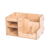 金隆兴 Glosen 金隆兴(Glosen)多功能木质文件筐 组合桌面办公笔筒学生文具收纳盒DIY创意分格储物盒 D2068 木纹 【组合式多分格】木质收纳盒