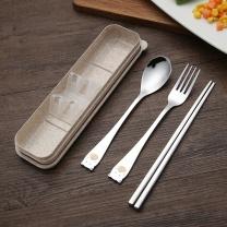 阳光飞歌 阳光飞歌 304不锈钢勺子筷子叉子 学生创意卡通餐具套装便携盒三件套 小熊款