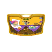 比克 BiC BIC比克 丝滑油画棒 Kids (12色塑盒)进口品牌文具儿童绘画蜡笔 12色