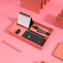 纽赛 NUSIGN 纽赛(NUSIGN)桌面收纳盒文件盘 资料收纳盘资料篮 大号珊瑚红NS026 大号收纳盘-粉
