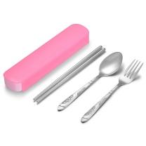 阳光飞歌 阳光飞歌 旅行便携筷勺叉餐具套装 不锈钢勺子筷子叉子三件套 粉色PP便携盒 0881