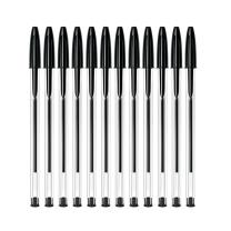 比克 BiC BIC比克 Cristal 经典圆珠笔 PenBeat 1.00mm黑色 12支 进口文具原子笔中油笔 黑色