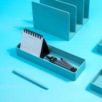 纽赛 NUSIGN 纽赛(NUSIGN)桌面收纳盒文件盘 文具收纳盘文具篮 中号新桥蓝NS027 中号收纳盘-蓝