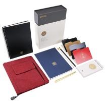 晨光 M&G 晨光(M&G)A5玛瑙红集客手账本多功能横线计划日记笔记本子 8件套HAPY0149 商务玛瑙红